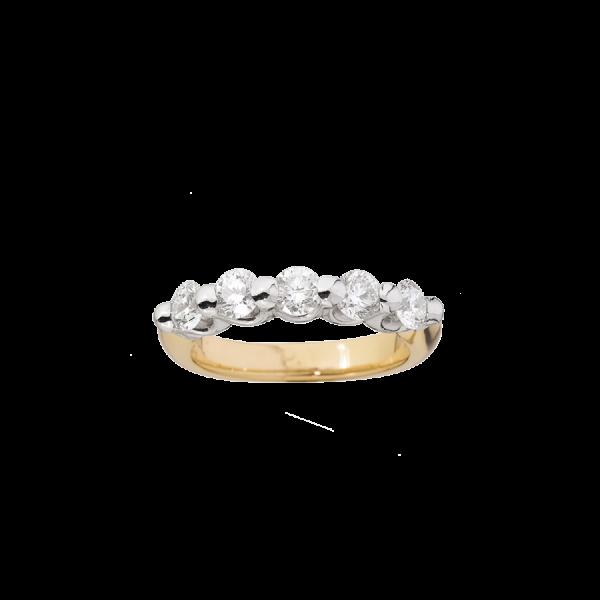 Bague alliance avec 5 diamants de taille brillant sertis griffes en or blanc 18 carats.