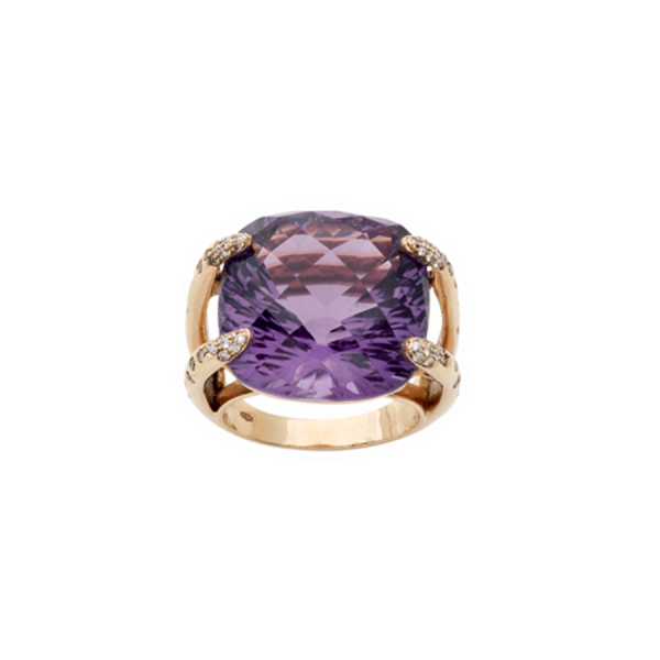Bague en or rose 18 carats avec une améthyste coussin de taille briolette et des diamants de taille brillant sur le corps de bague.