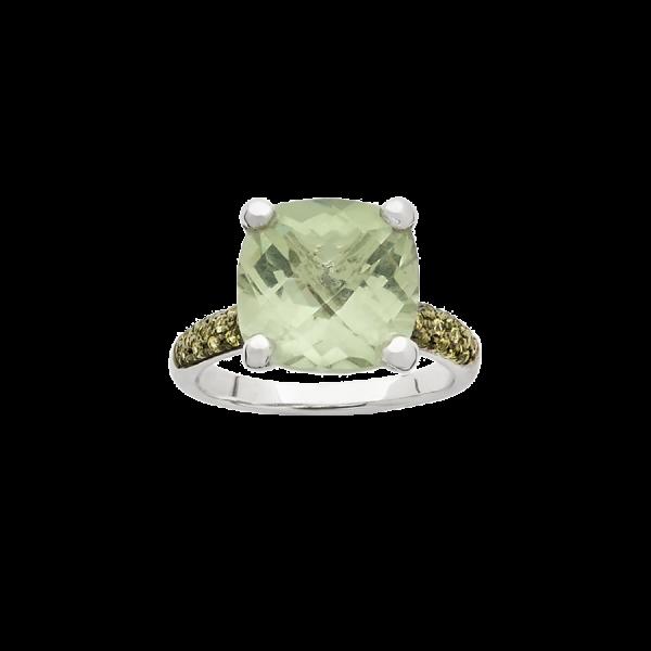 Bague en or blanc avec un pavage de saphirs jaunes et une pierre prasiolite de taille coussin, sertie de quatre griffes en or blanc.
