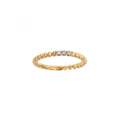 Alliance grains en or rose 18 carats avec 3 diamants serti grains.