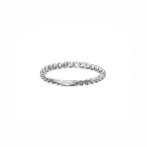 Alliance grains avec trois diamants sertis grains en or blanc 18 carats