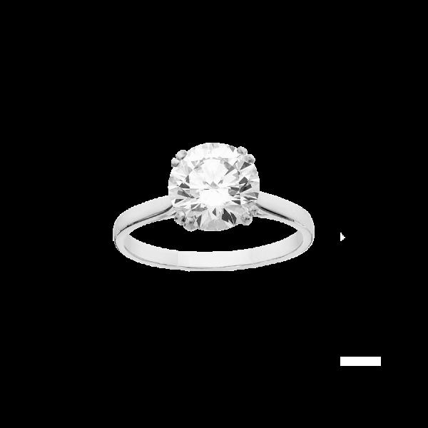 Solitaire avec un anneau en platine, serti d'un diamant de taille brillant.