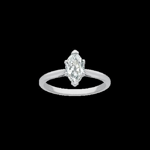 Anneau en or blanc 18 carats et platine, serti d'un diamant marquise de taille ancienne sur un chaton navette illusion