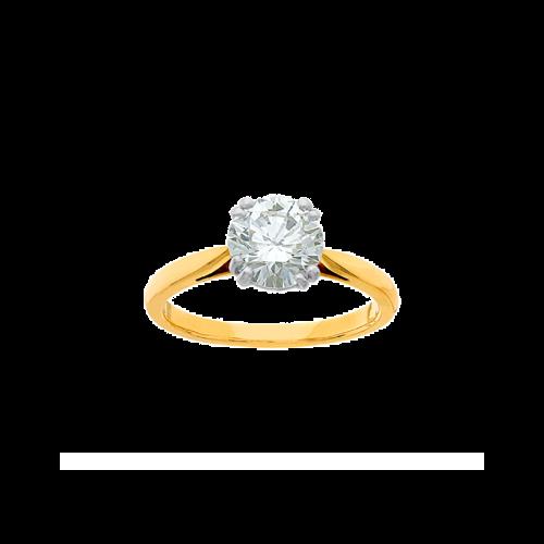 Anneau en or jaune 18 carats, serti d'un diamant de taille brillant sur un chaton illusion avec 4 griffes doubles en platine.
