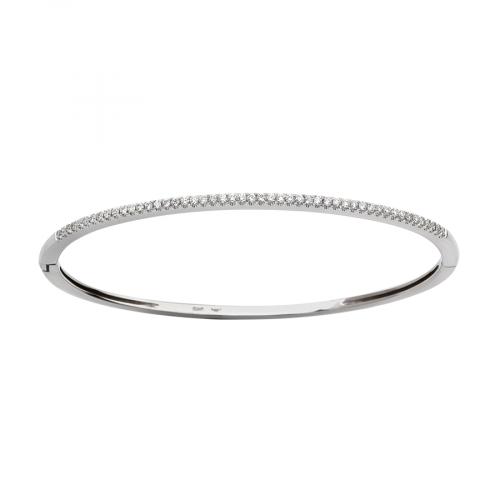 carats Bracelet rigide en or blanc avec une ligne de diamants en serti grains.