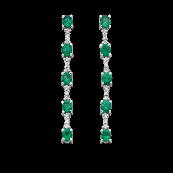 Boucles d'oreilles pendantes en or blanc 18 carats, avec 10 émeraudes de taille brillant et 12 diamants de taille brillant.