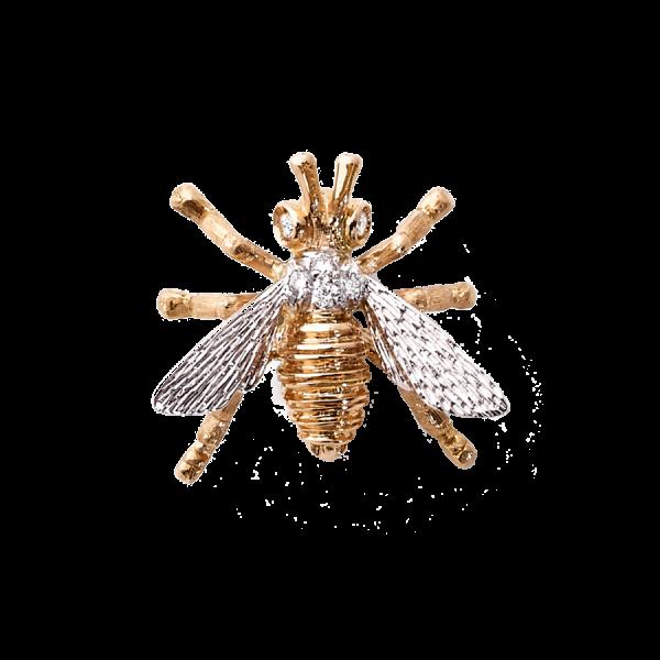 Broche en forme d'abeille en or rose 18 carats. Les ailes sont en or blanc 18 carats pavées de diamants 0,11ct en serti grains.