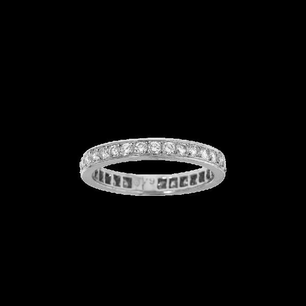 Alliance tour complet Diamants serti grains avec de part et d'autre de deux minces filets en or blanc 18 carats