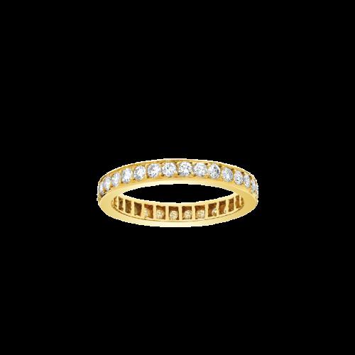 Alliance tour complet Diamants serti grains avec de part et d'autre deux minces filets, en or jaune 18 carats