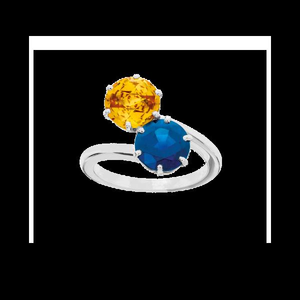 Bague toi et moi en or blanc 18 carats et platine, sertie d'un saphir bleu rond et d'un saphir jaune rond.