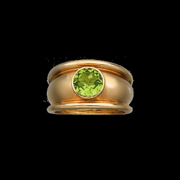 Bague jonc godronnée en or jaune 18 carats sertie d'un péridot rond.