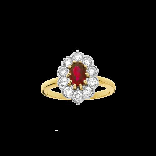 Bague entourage Pompadour en or jaune et or blanc 18 carats sertie d'un rubis ovale entouré de diamants de taille brillant.