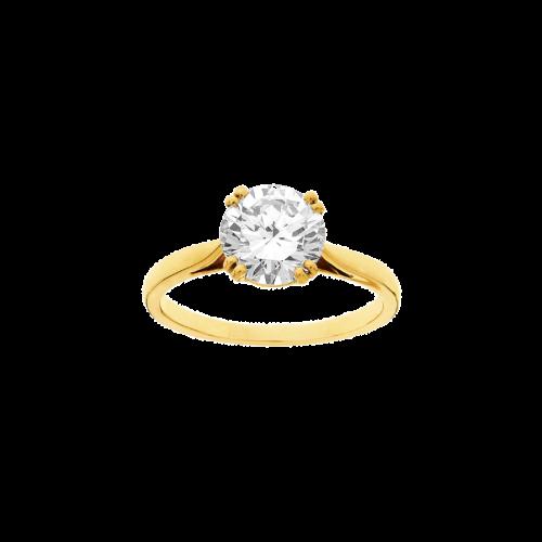 Solitaire en or jaune 18 carats, serti d'un diamant de taille brillant.