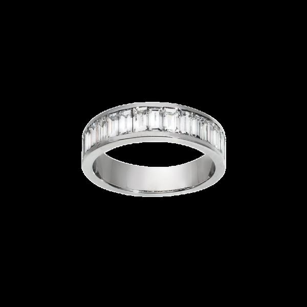 Alliance Diamants baguettes sertis par un serti rail en or blanc 18 carats