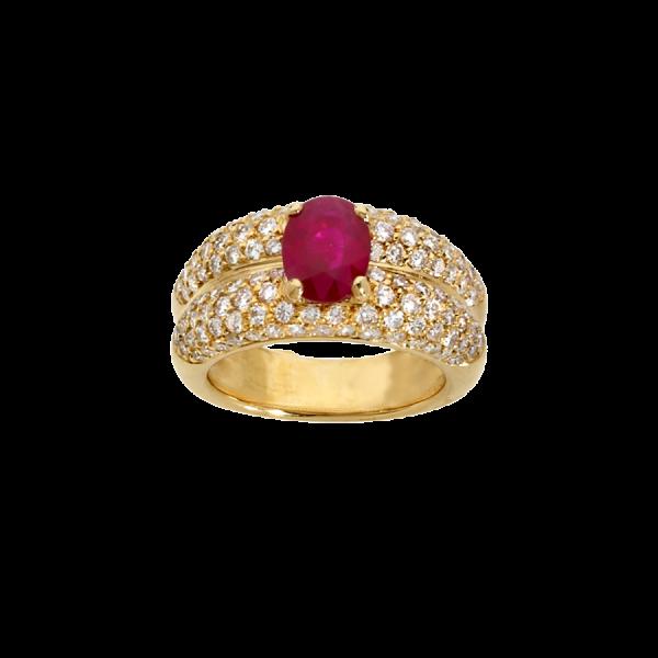 Bague double godrons en or jaune 18 carats sertie d'un rubis ovale et d'un pavage diamants.
