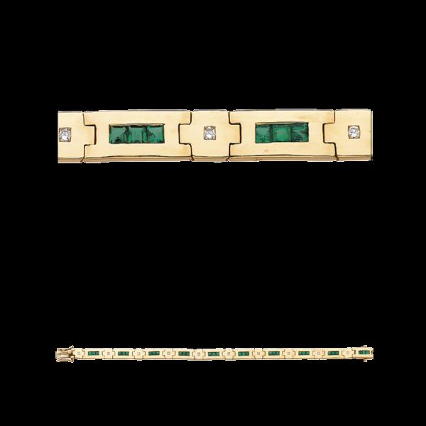 Bracelet articulé en or jaune 18 carats, serti d'émeraudes calibrées et de diamants, de manière alternée.