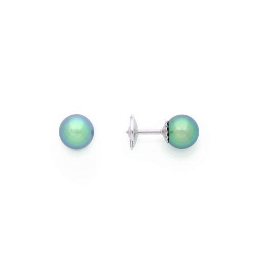Boucles d'oreilles puce en or blanc 18 carats avec deux perles de Tahiti de 7,8mm.
