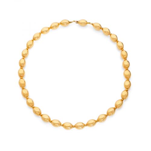 Collier avec perles en forme d'olives en or jaune 18 carats