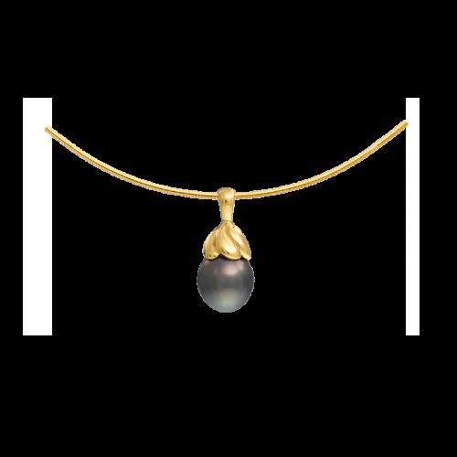 Pendentif torsadé en or jaune 18 carats serti d'une perle de Tahiti.