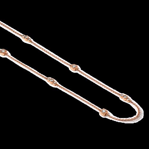 Collier en or rose 18 carats, chaine forcat ronde sertie de diamants taille brillant.
