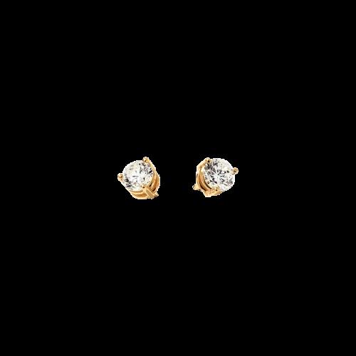 Puces d'oreille en or jaune 18 carats serties de 2 diamants de taille brillant.