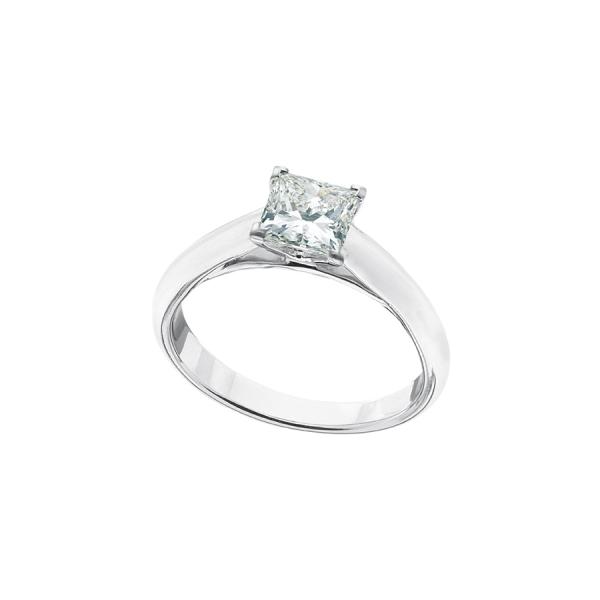 Solitaire or blanc palladié 18 carats, serti d'un diamant de taille princesse.