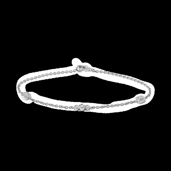 Bracelet en or blanc palladié18 carats, chaine forçat ronde sertie de diamants de taille brillant.