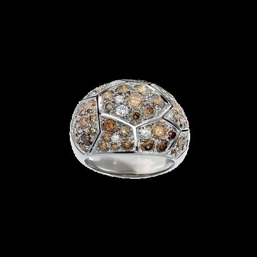 Bague jonc à motifs géométriques en or blanc palladié 18 carats pavée de diamants blancs et bruns.