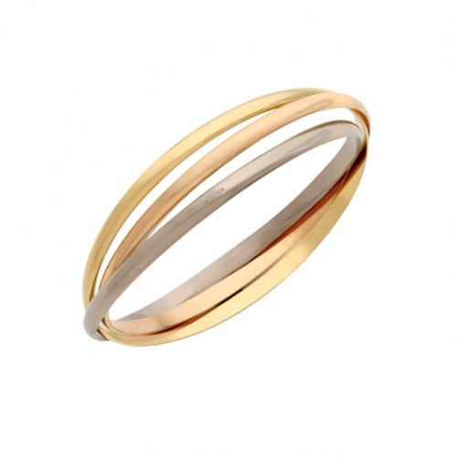 Le bracelet est composé de trois bracelets enchevêtrés et indissociables, un en or jaune, un en or blanc et un en or rose.