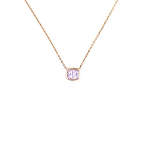 Pendentif en or rose 18 carats sur chaine en maille forçat, serti d'un spinelle rose taille coussin en serti clos.