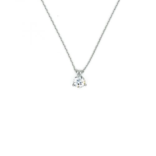 Pendentif sur chaine maille forçat, en or blanc 18 carats, serti trois griffes d'un diamant