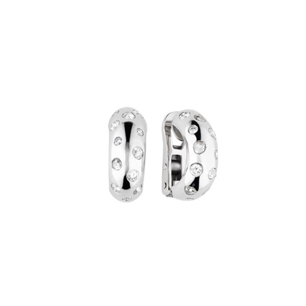 Paire de boucles d'oreilles créoles en or blanc 18 carats, sertie de diamants taille brillant et de diamants taille rose.