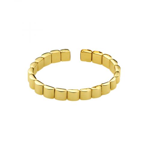 Bracelet en or jaune 18 carats, ouvert et flexible, composé de motifs bombés.