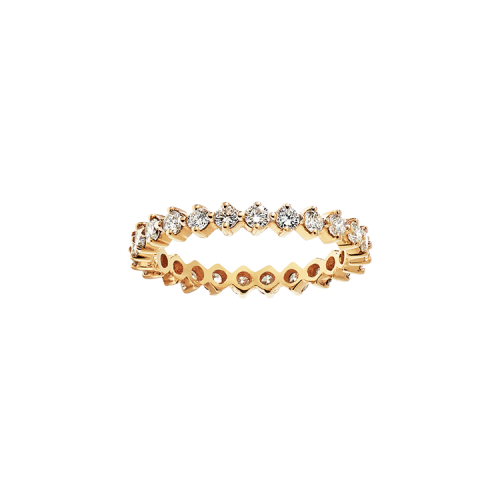 Alliance tour complet en or jaune Diamants serti griffes