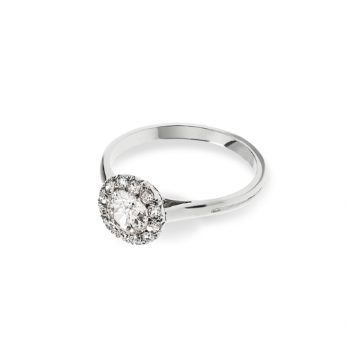 Solitaire diamant taille ancienne entouré de diamants taille brillants sertis grains, sur un corps de bague en platine.