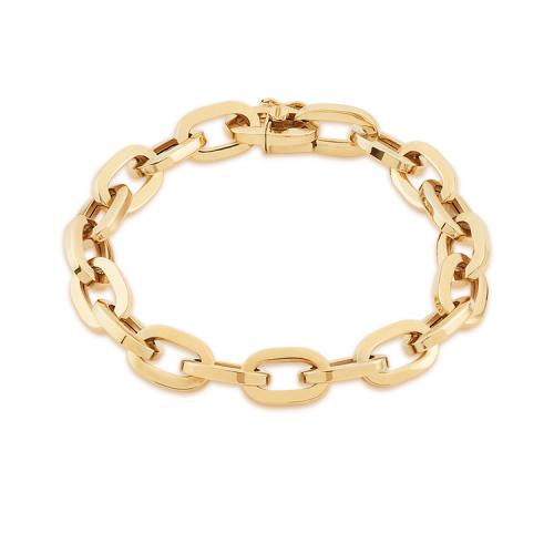 Ce bracelet à la fois élégant et raffiné est en or jaune 18 carats poli. Il est articulé par des mailles allongées et de forme ovale. Les mailles mesurent 8 millimètres de largeur. La section du fil est carrée ce qui donne au bijou un style moderne.