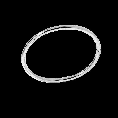 Bracelet jonc ouvrant en or blanc 18 carats. Le bracelet est un ovale de 58 millimètres de diamètre, qui convient pour la plupart des poignets. Sa section est ronde de diamètre 3 millimètres.