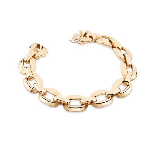 Bracelet en or jaune 18 carats composé de mailles ovales bombées.