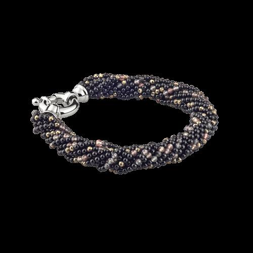 Bracelet de perles d'onyx, de pyrites et de pierres de lune. Les perles sont enfilées sur douze rangs torsadés. Le fermoir est en or blanc 18 carats