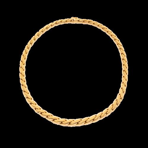 Collier en or jaune 18 carats composé de mailles polies avec un effet sablées sur le dessus.