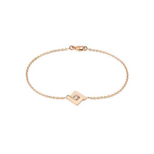 Bracelet de la collection Signature en or rose 18 carats, composé du motif iconique, le losange, serti en son centre d'un diamant taille brillant
