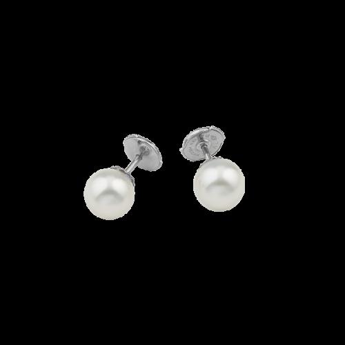 Puces d'oreilles en or blanc 18 carats avec deux perles blanches Akoya.