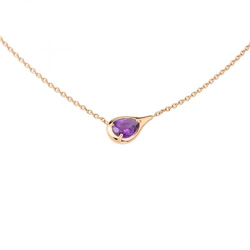 Pendentif en or rose 18 carats en forme de poire, serti d'une améthyste.