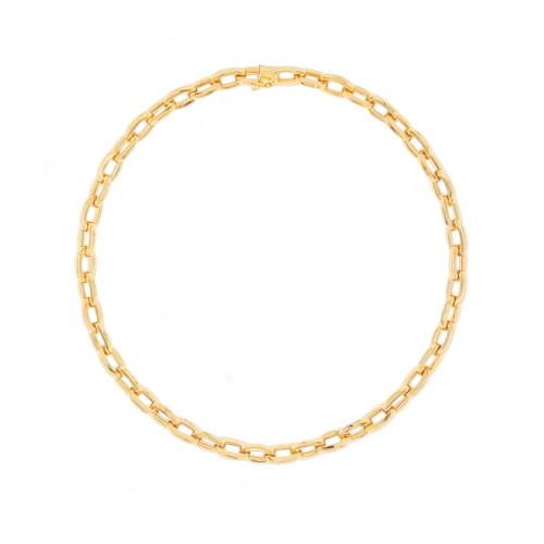 Ce collier raffiné et élégant est en or jaune 18 carats poli. Il est articulé par des mailles allongées et de forme ovale. Les mailles mesurent 8 millimètres de largeur. La section du fil est carrée ce qui donne au bijou un style moderne. Le fermoir est un fermoir cliquet, lui-même sécurisé par un huit de sûreté. La longueur du collier est de 45 centimètres et son poids est de 37.70 grammes . Référence COLA3163